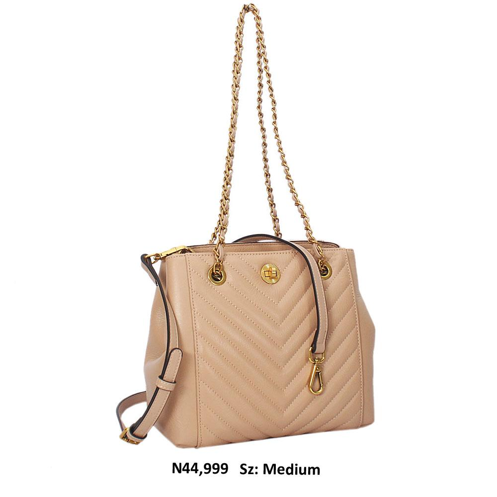 Beige Meave Leather Chain Shoulder Handbag