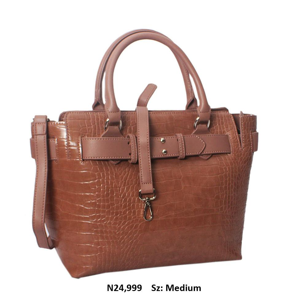 Brown Kayla Croc Leather Tote Handbag