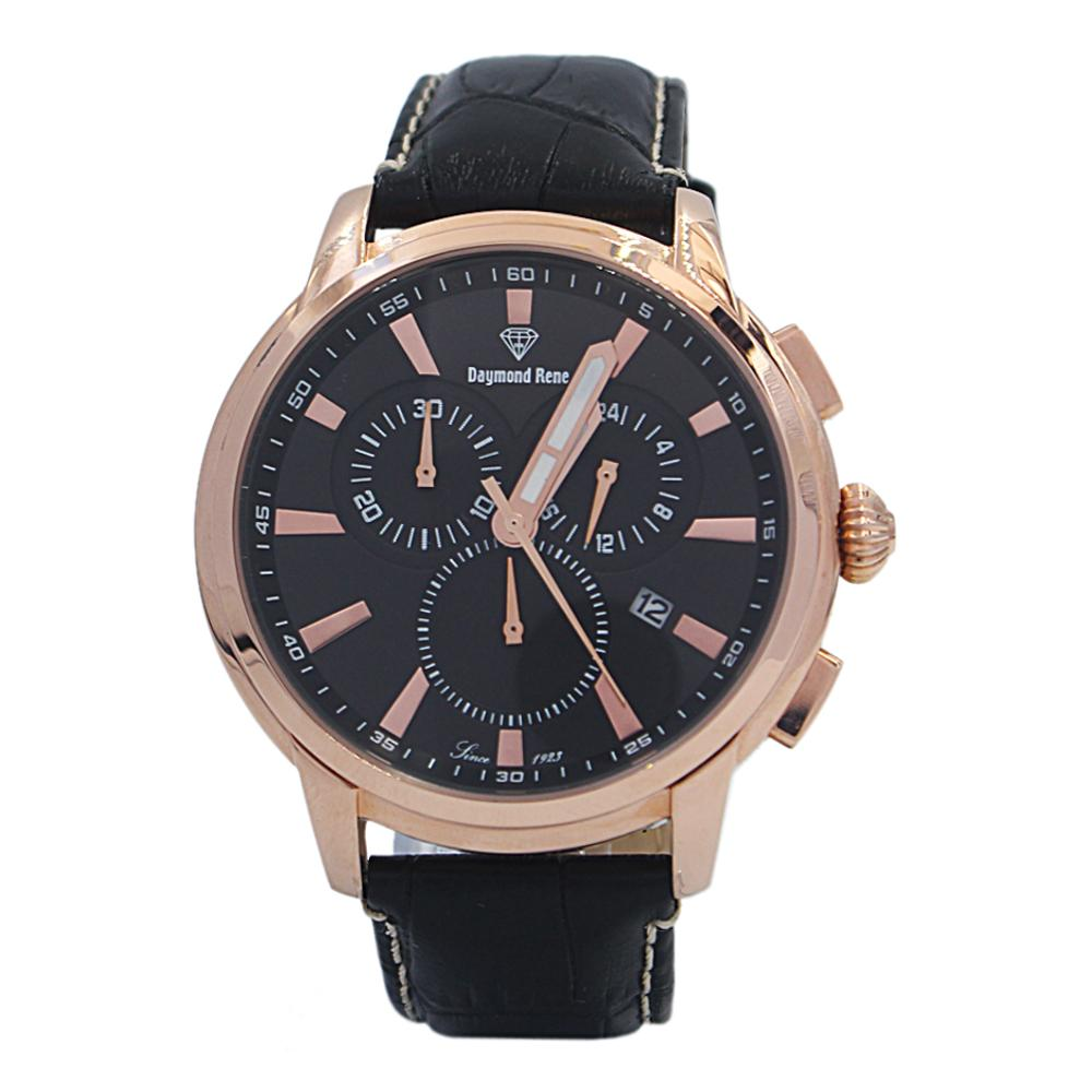 DR 5ATM Black Rose Gold Leather Chronograph Watch