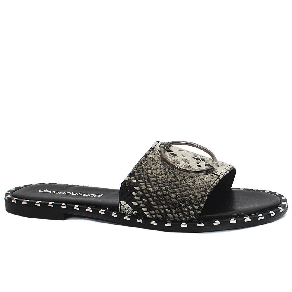 Black White Snake Skin Leather Flat Slippers