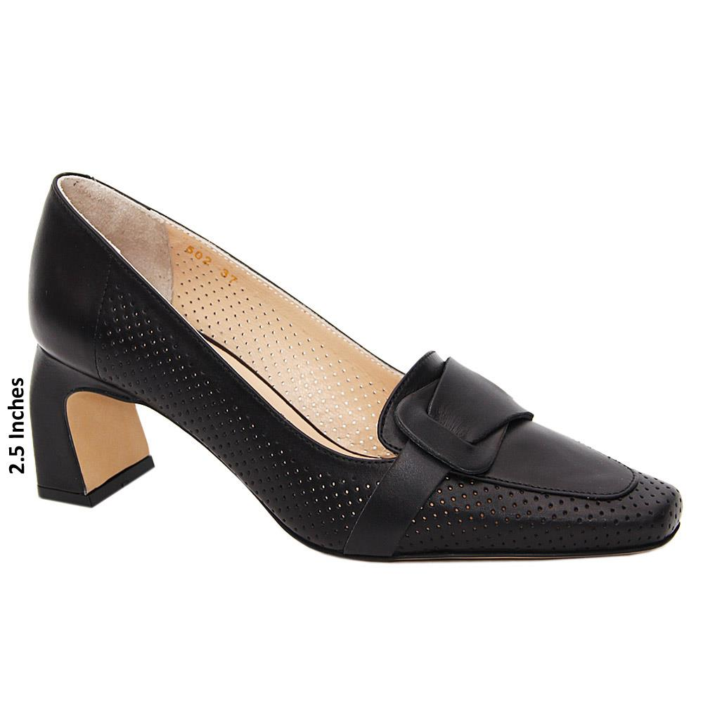 Black Holly Tuscany Leather Breathable Mid Heel Pumps