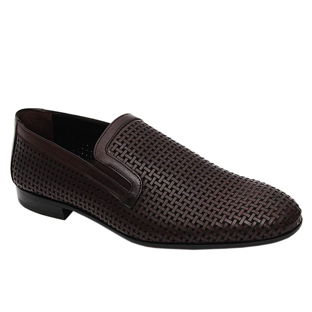 Coffee Brown Lorenzo Woven Style Italian Leather Loafers