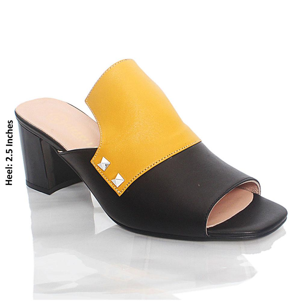 Black Yellow Viaro Italian Leather Mule