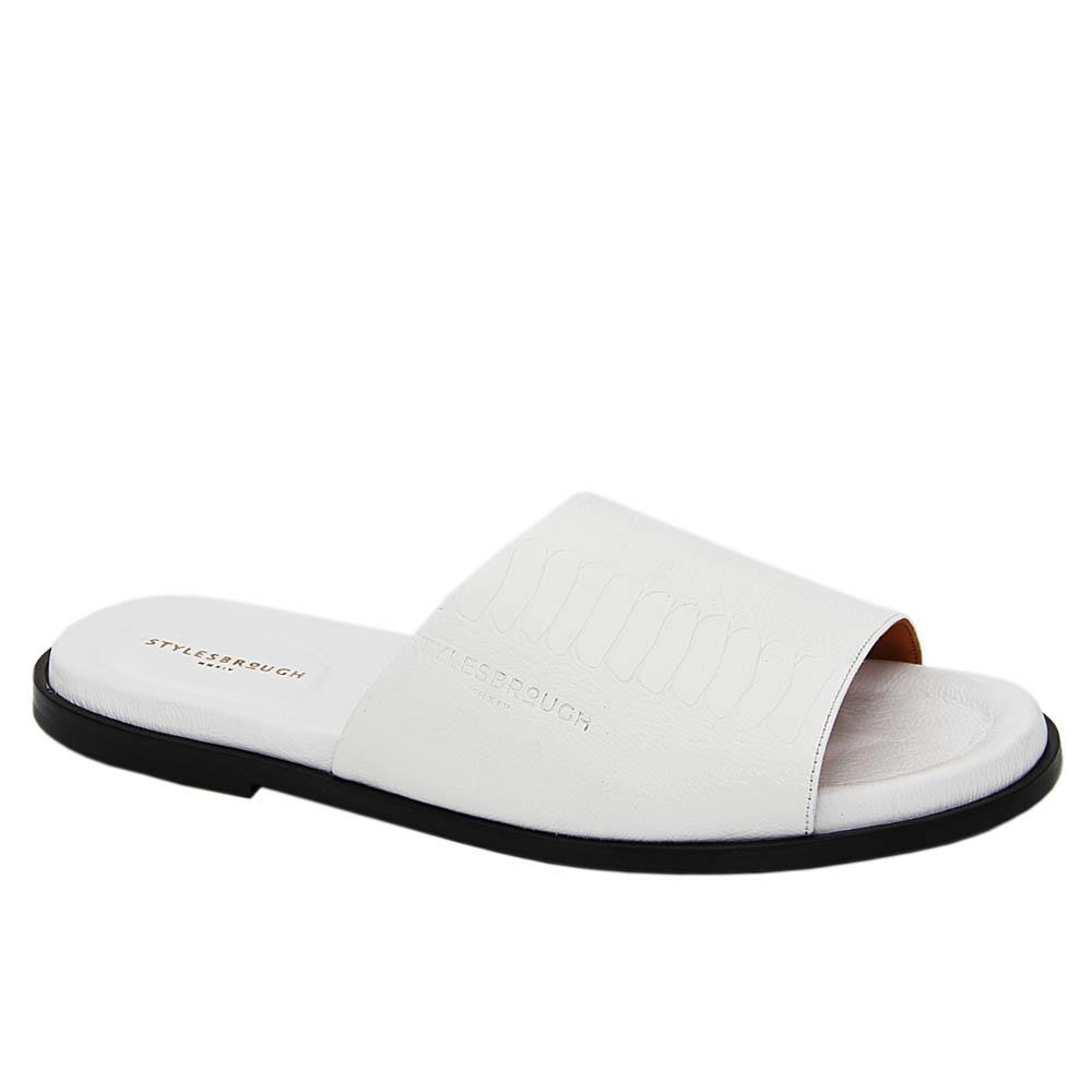 White Leone Italian Leather Slippers