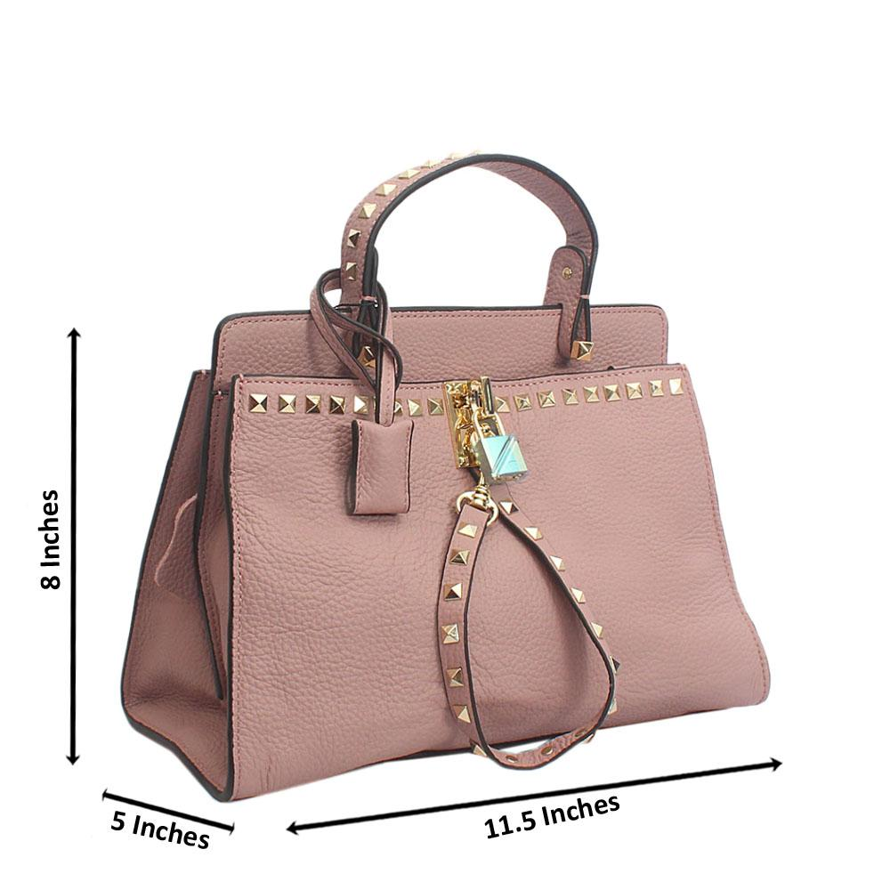Cute Liliac Rock Stud Tuscany Leather Top Handle Handbag