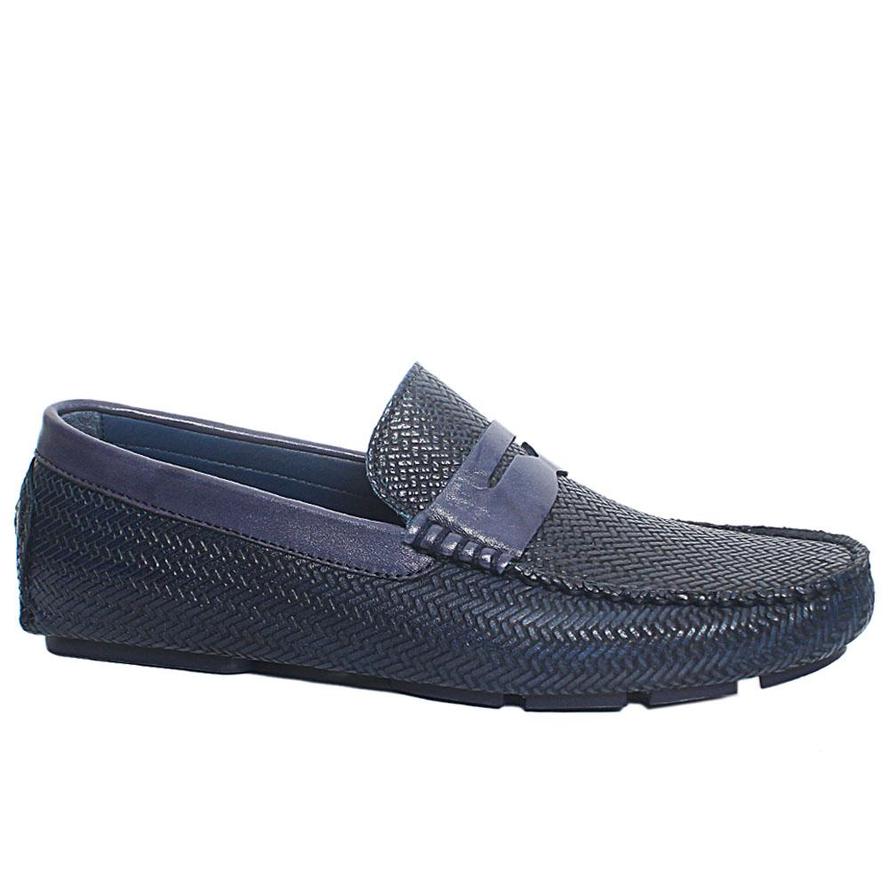 Blue Pasquino Italian Leather Drivers Loafers