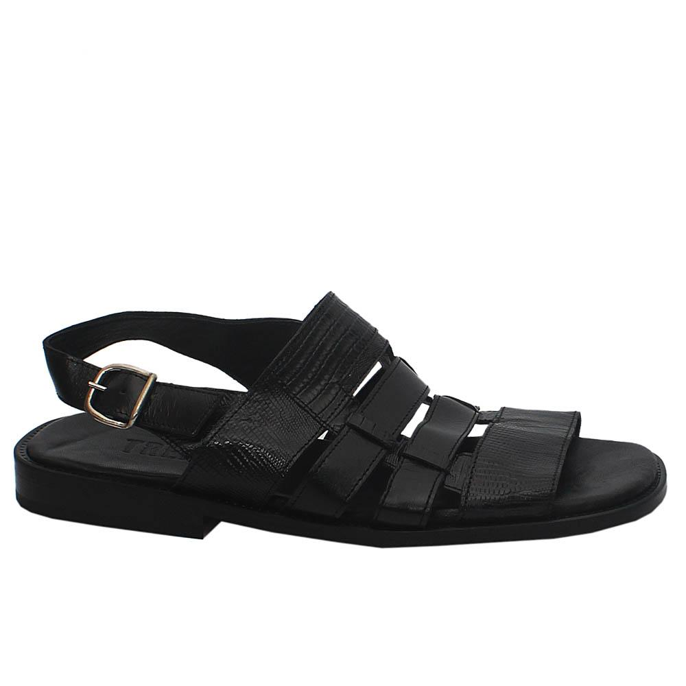 Luigi TRD Black Croc  Leather Men Sandals