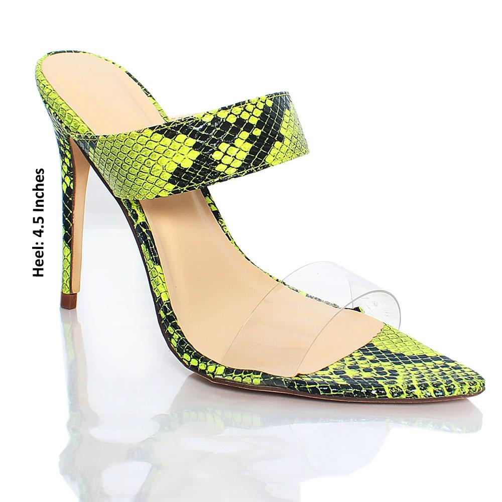 Green Snake Skin AM Liz Leather High Heels