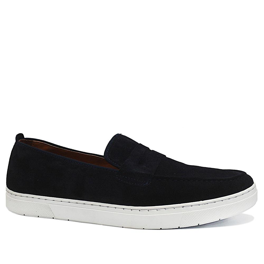 Navy Alphonse Suede Leather Sneakers