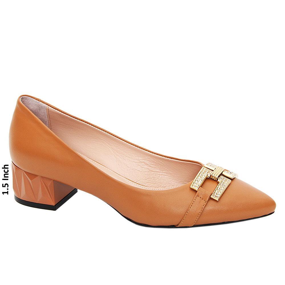 Brown Josefina Tuscany Leather Low Heel Pumps