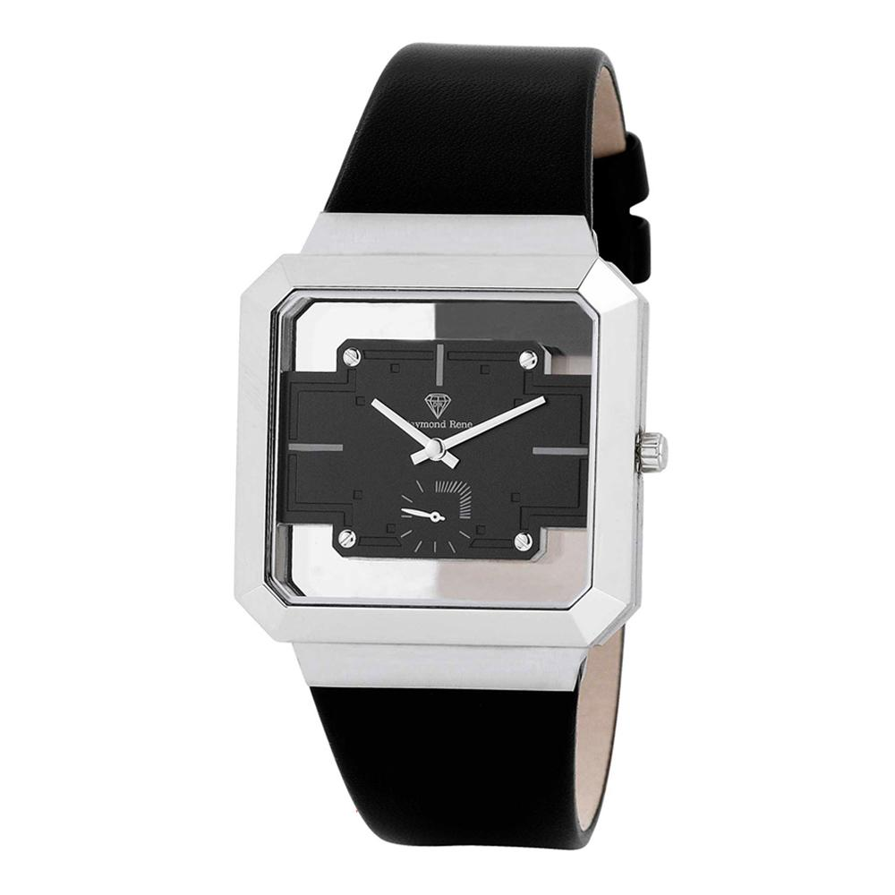 Black Silver Leather Watch