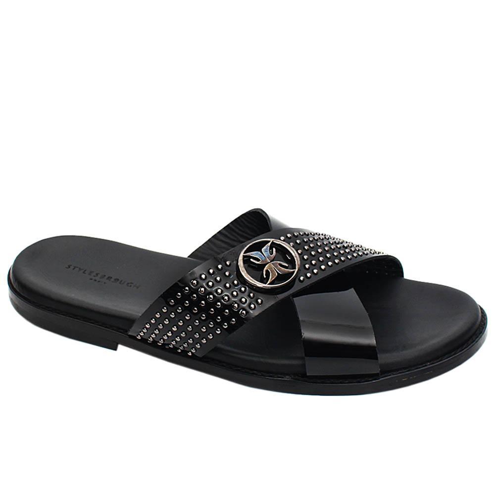 Black Hugo Studded Patent Italian Leather Men Slippers