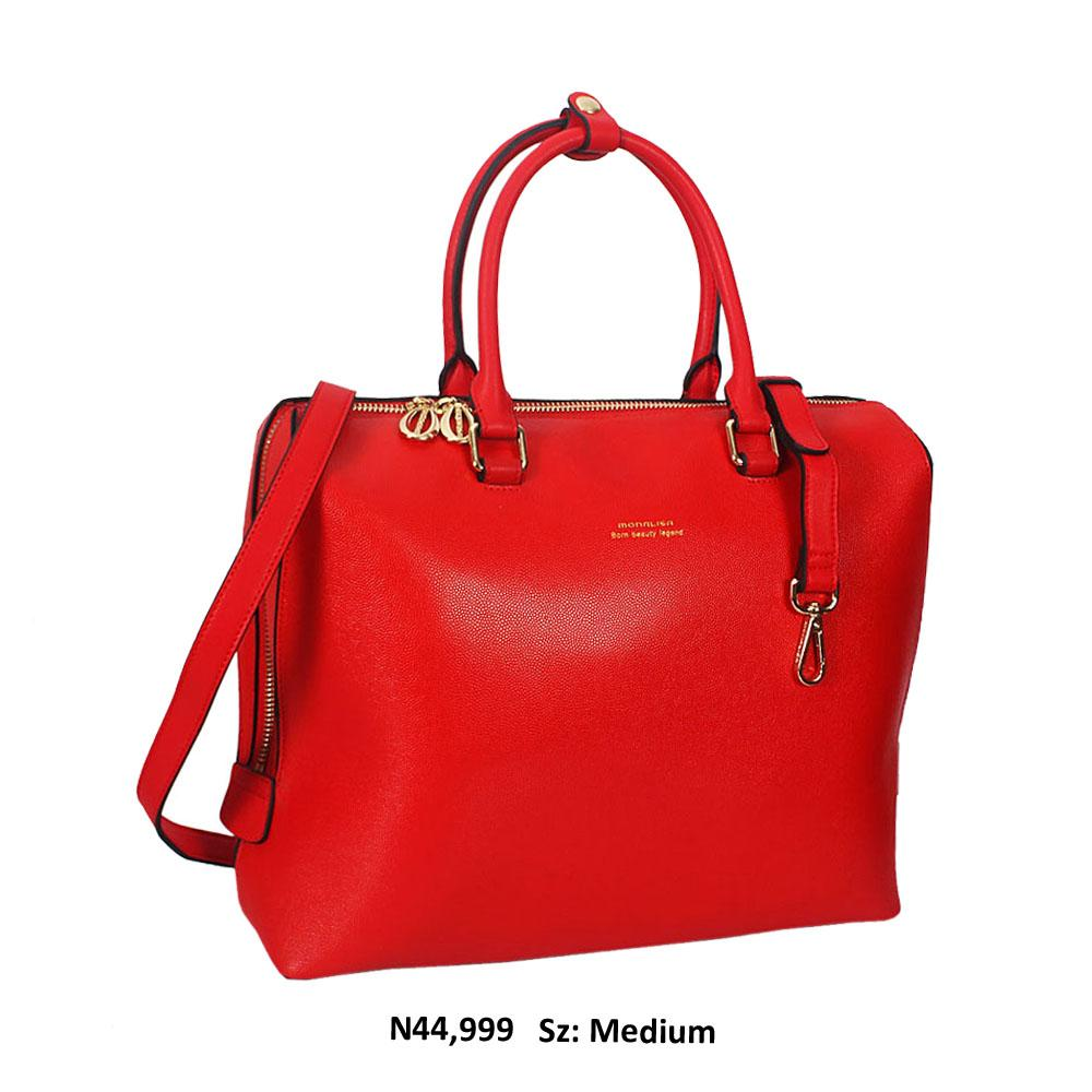 Monalisa Red Cowhide Leather Tote Handbag