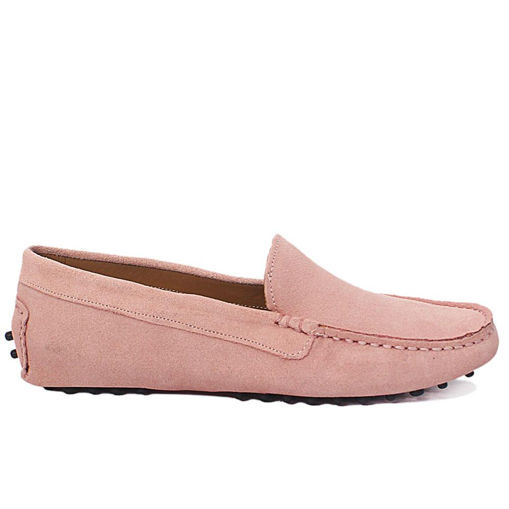 Pink Ude Suede Leather Ladies Flat Shoe