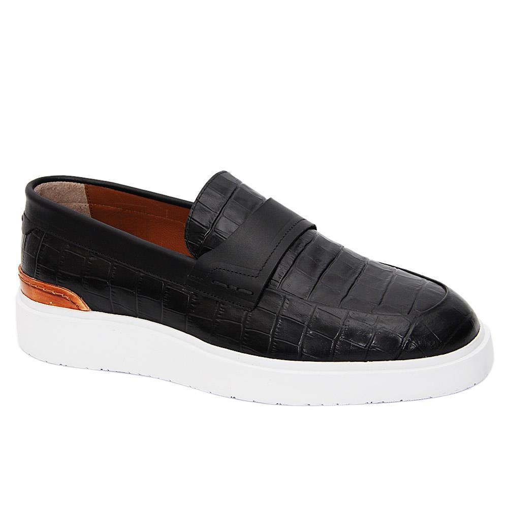 Black Castaneda Italian Leather Slip-On Sneakers