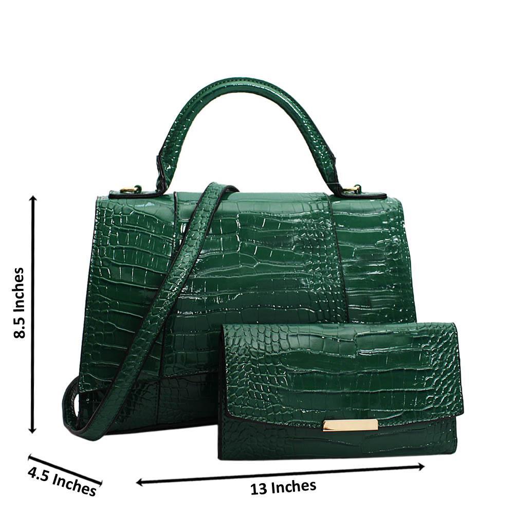 Green Adrianna Patent Croc Leather Top Handle Handbag