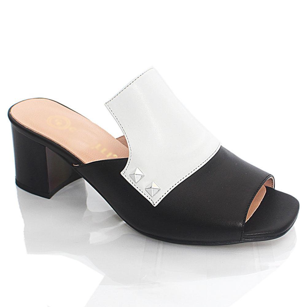 Black White ViaRo Italian Leather Mule Slippers