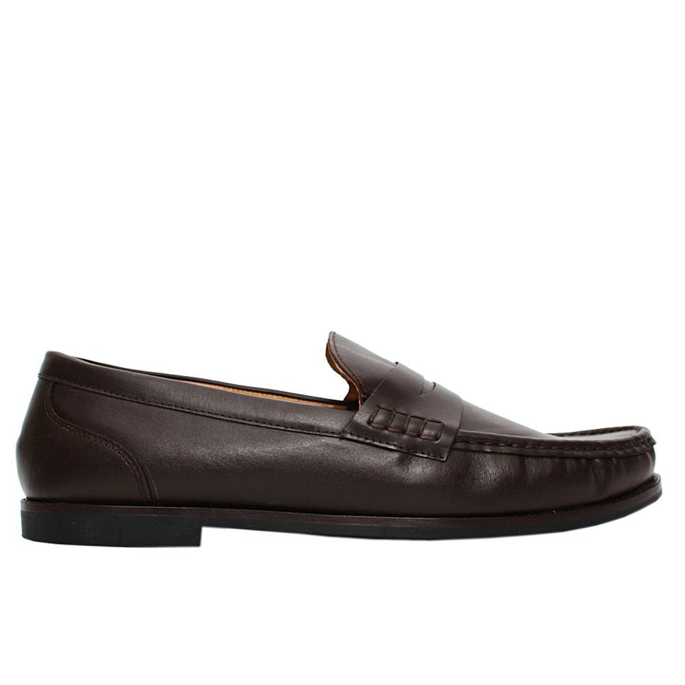Coffee kyle leather penny loafers
