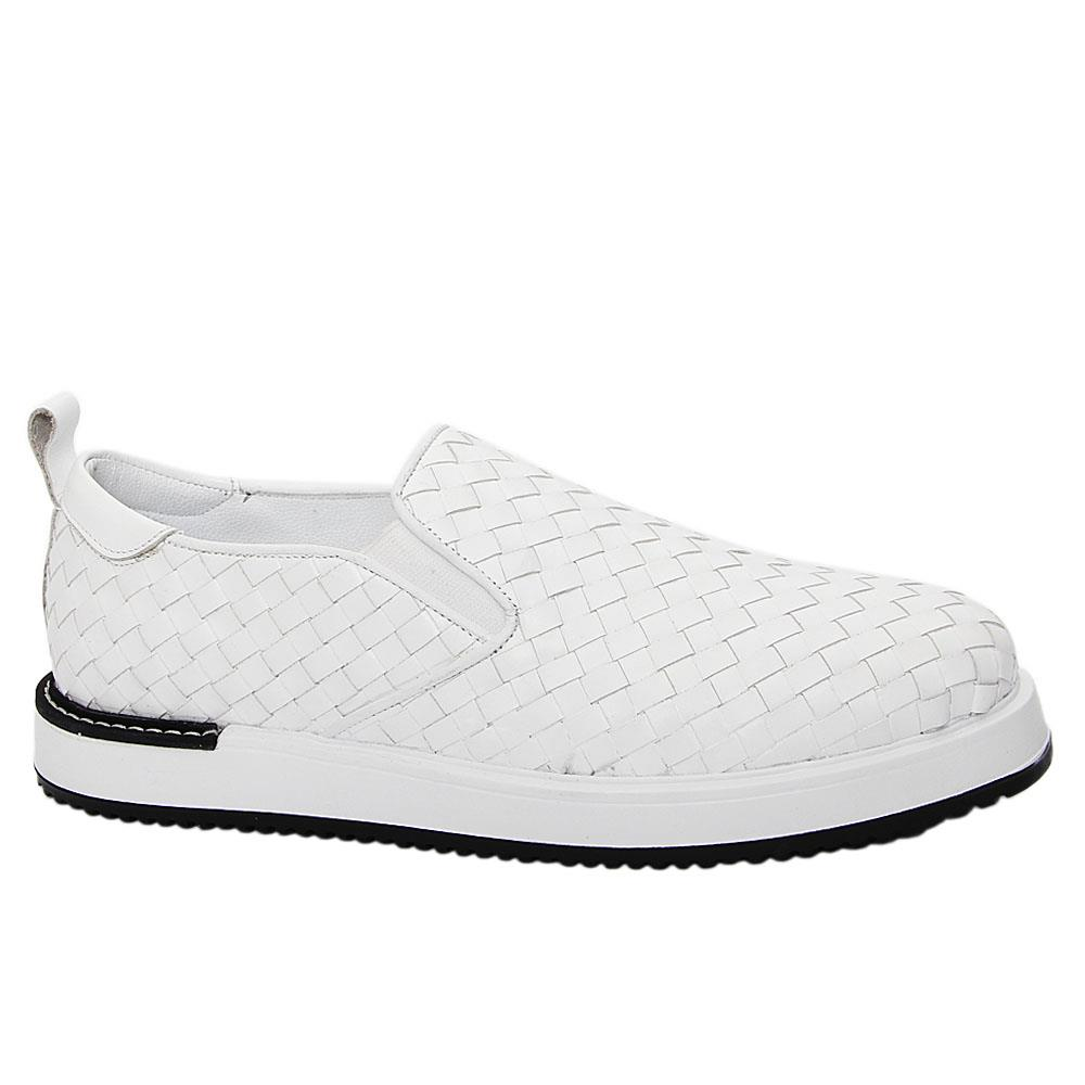 White Gregory Woven Italian Leather Slip-On Sneakers