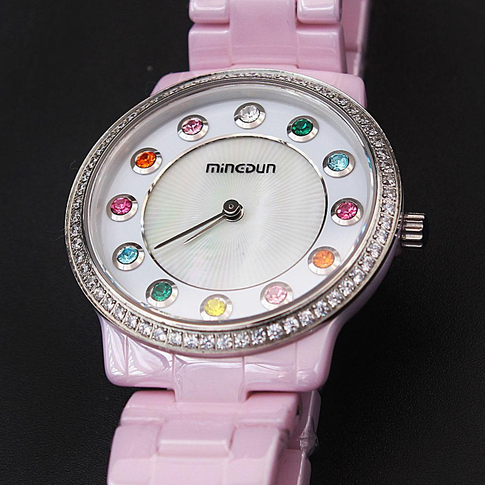 Empire Pink Multi-colored stones Ceramic Ladies Watch
