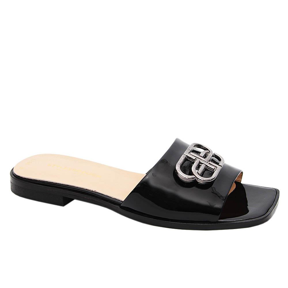 Black Malena Patent Tuscany Leather Low Heel Slippers