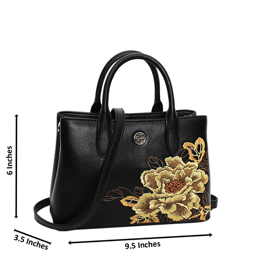 Black Golden Floral Rossi Premium Leather Mini Handbag