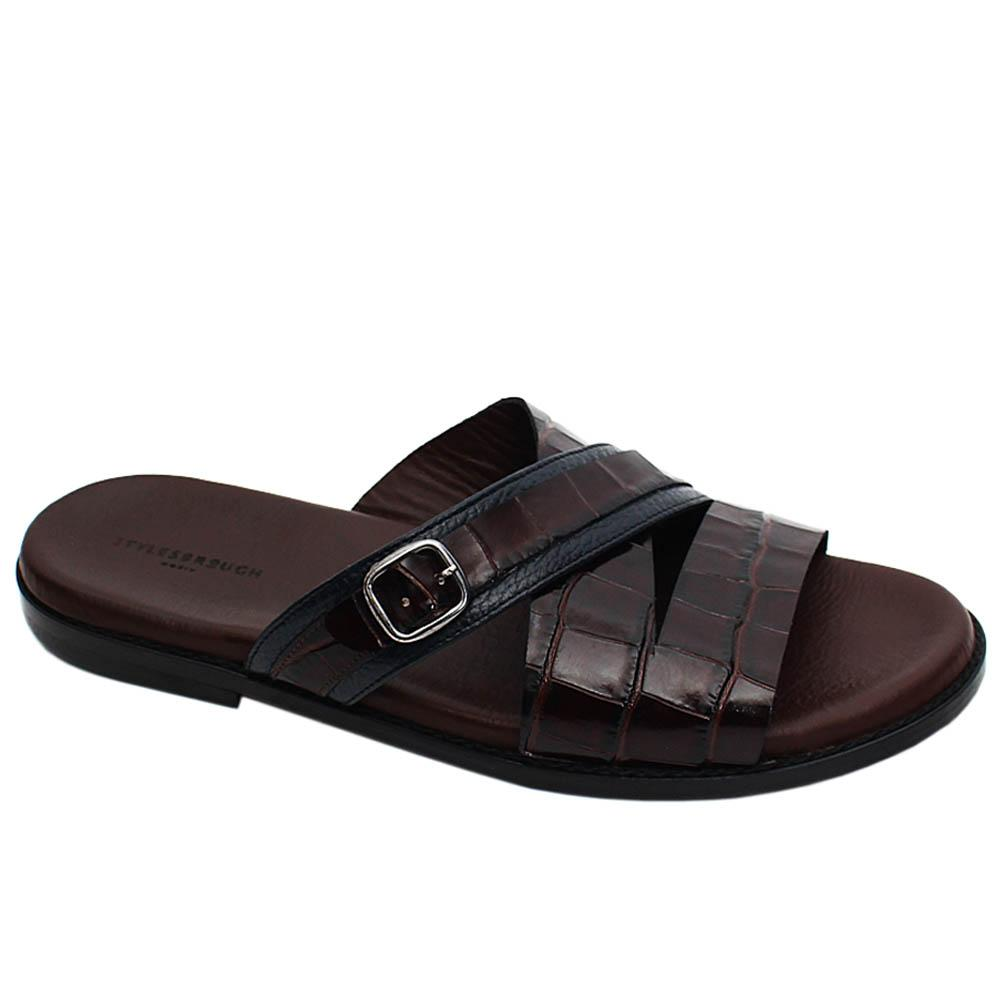 Coffee Javier Croco Italian Leather Men Slippers