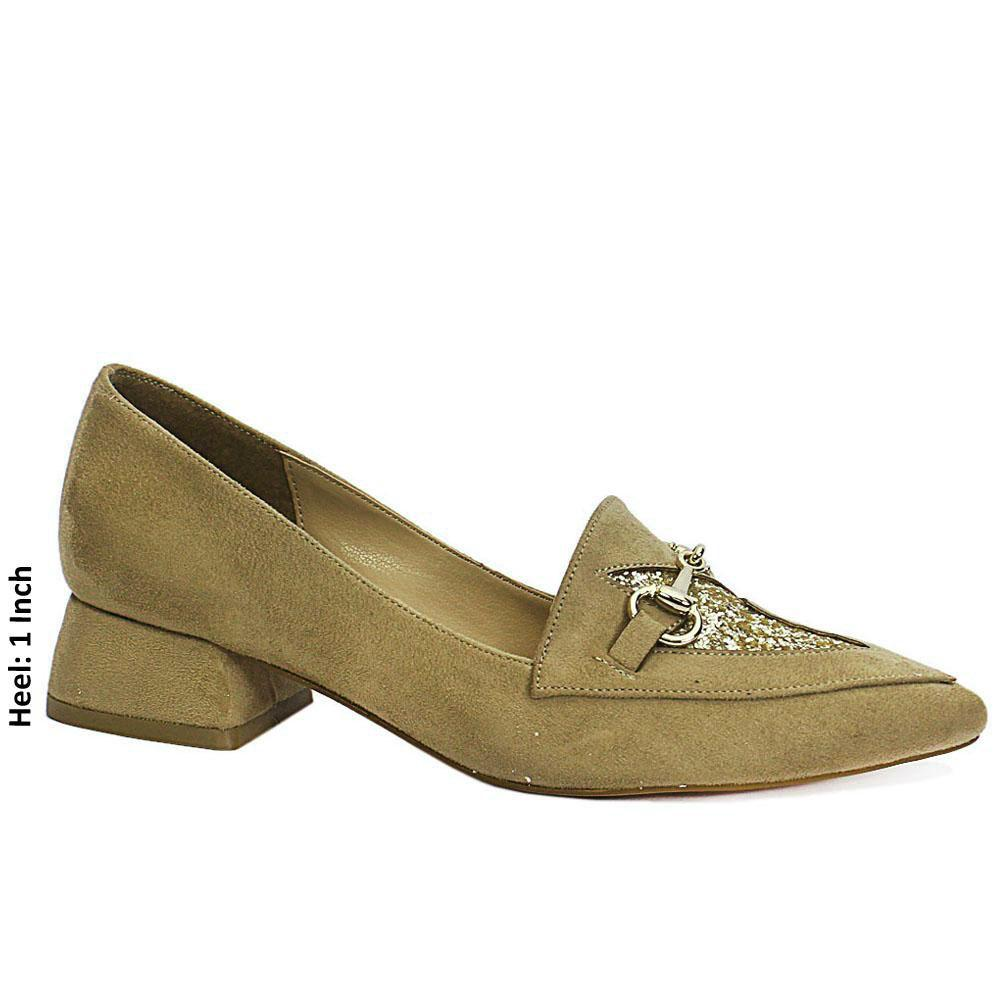 Khaki Suede Leather Low Heel