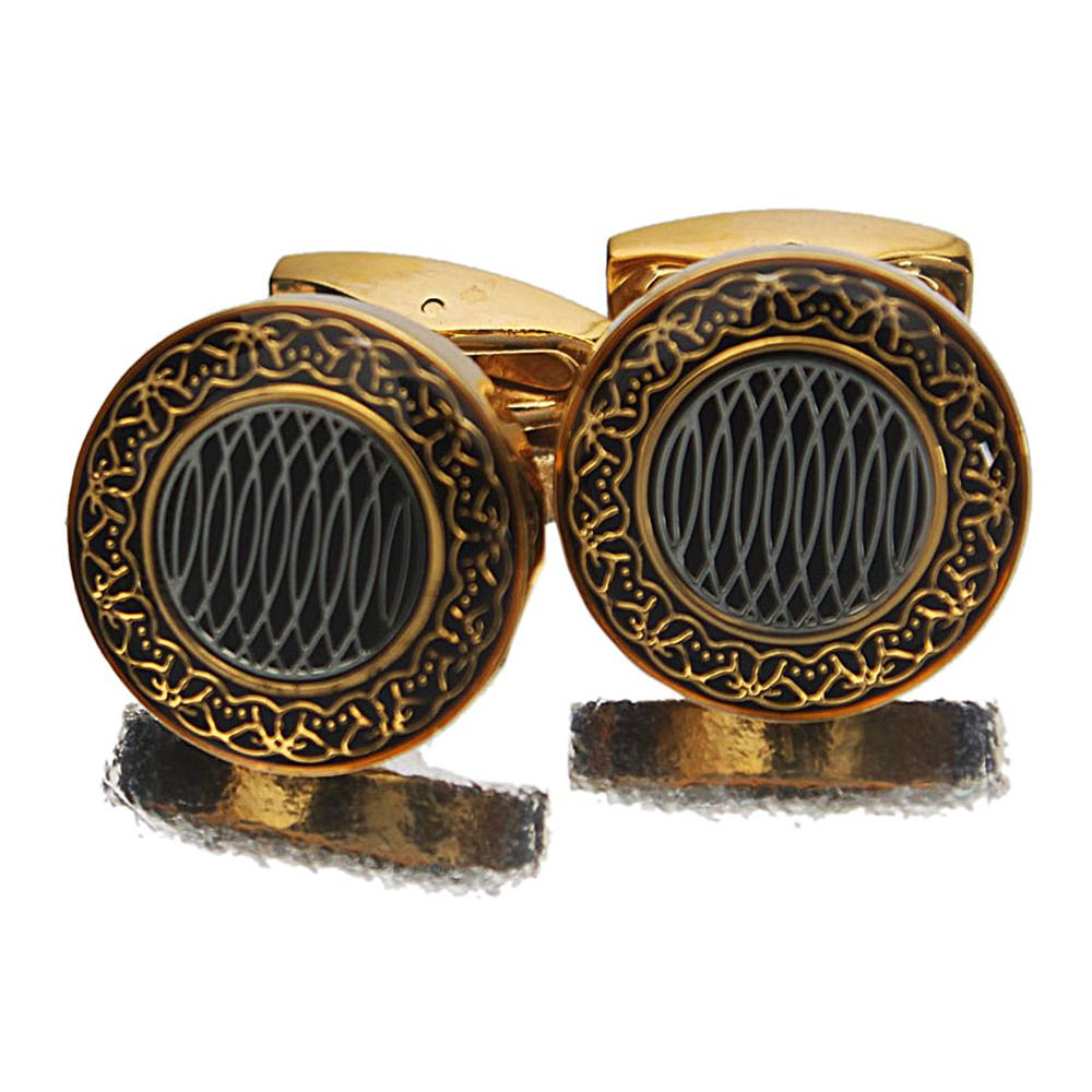 Gold Hard Enamel Stainless Steel Cufflinks