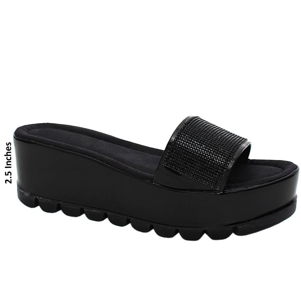 Black Nancy Studded Leather Wedge Heels