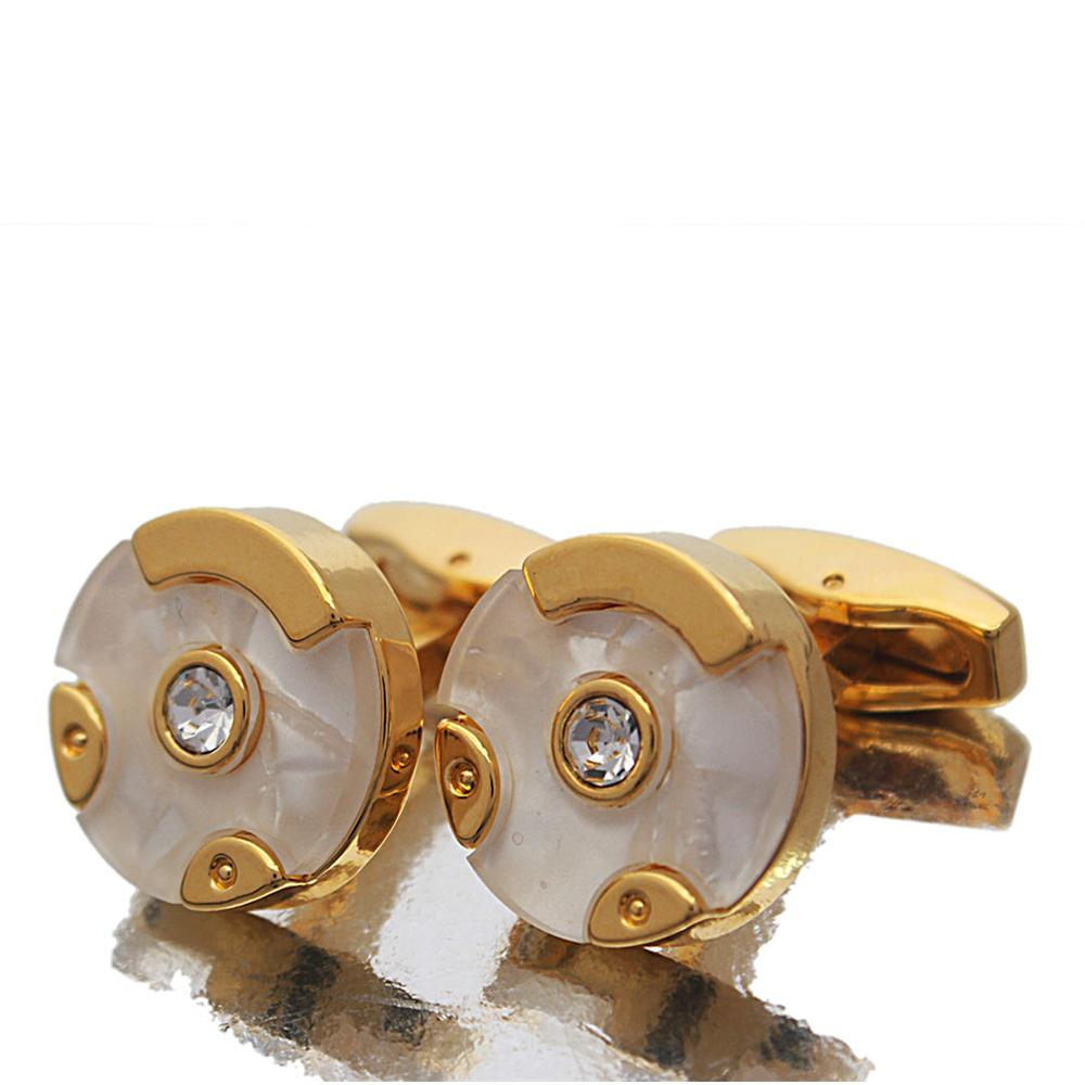 Gold White Pearl Stud Stainless Steel Cufflinks