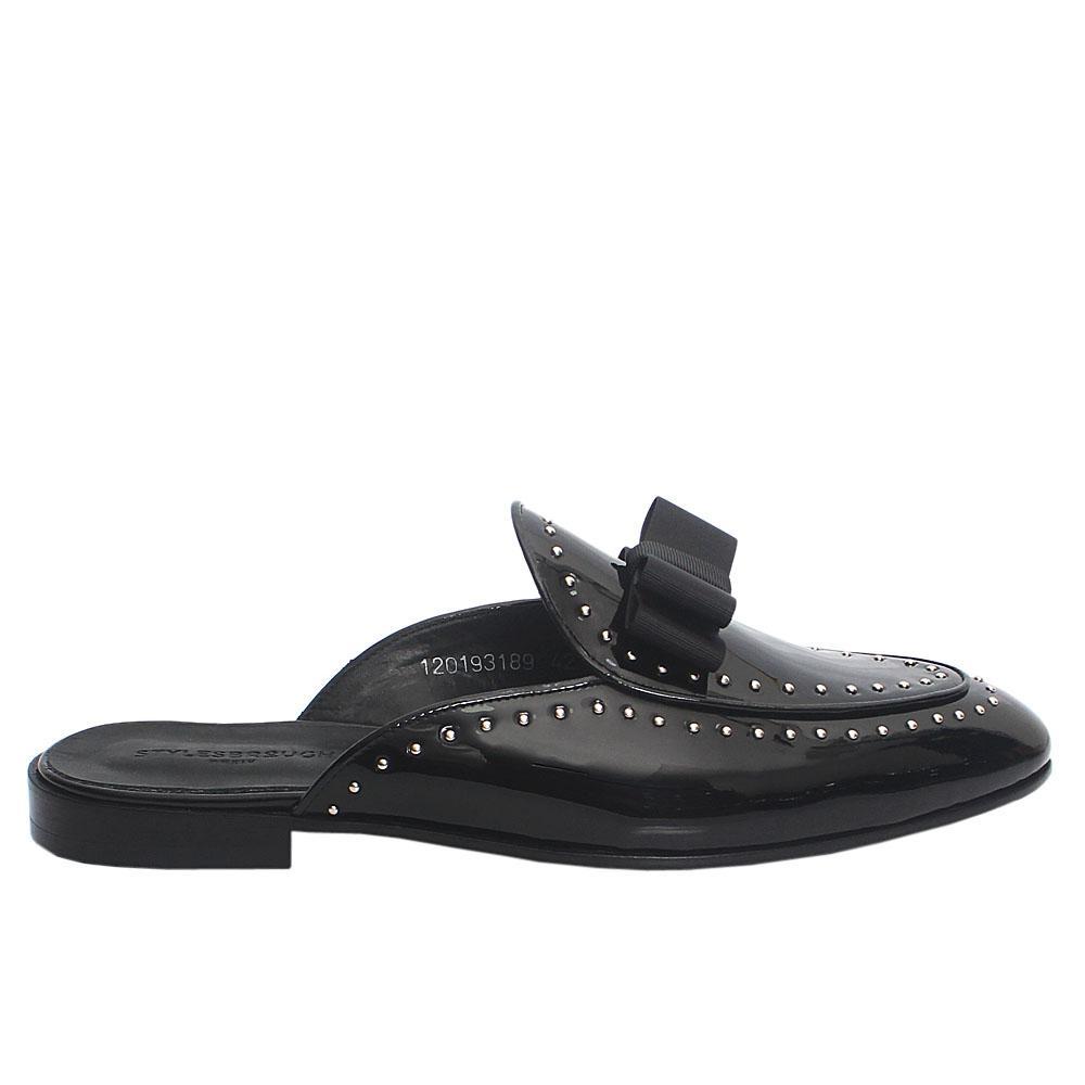 Black-Patent-Italian-Leather-Men-Half-Shoe-Slippers
