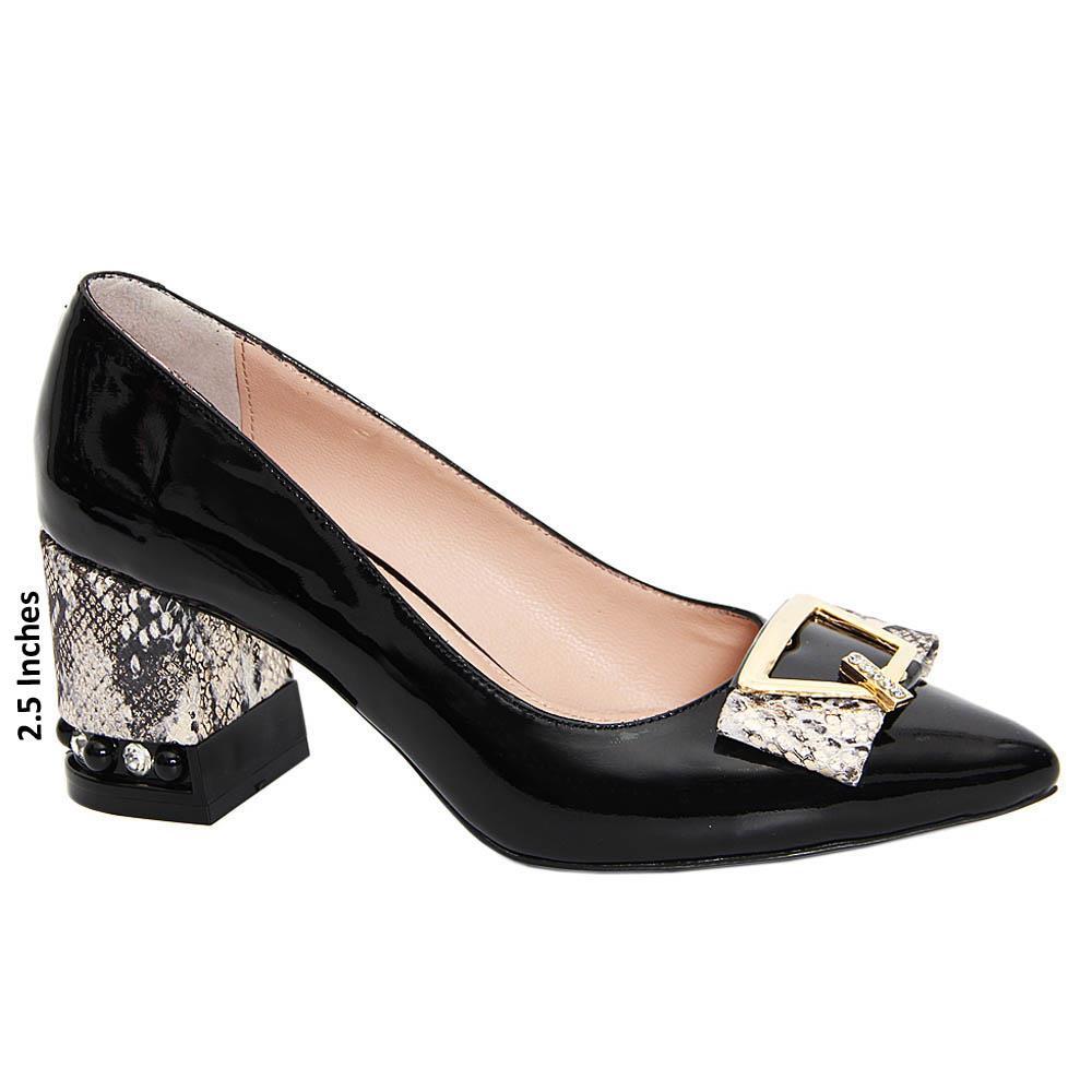 Black Magdalena Patent Tuscany Leather Mid Heel Pumps