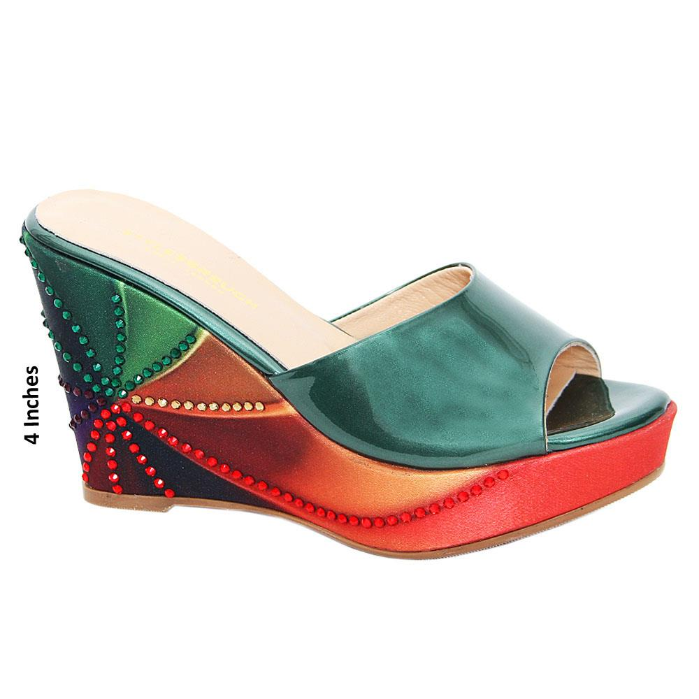 Green Terza Mix Studded Patent Italian Leather Wedge