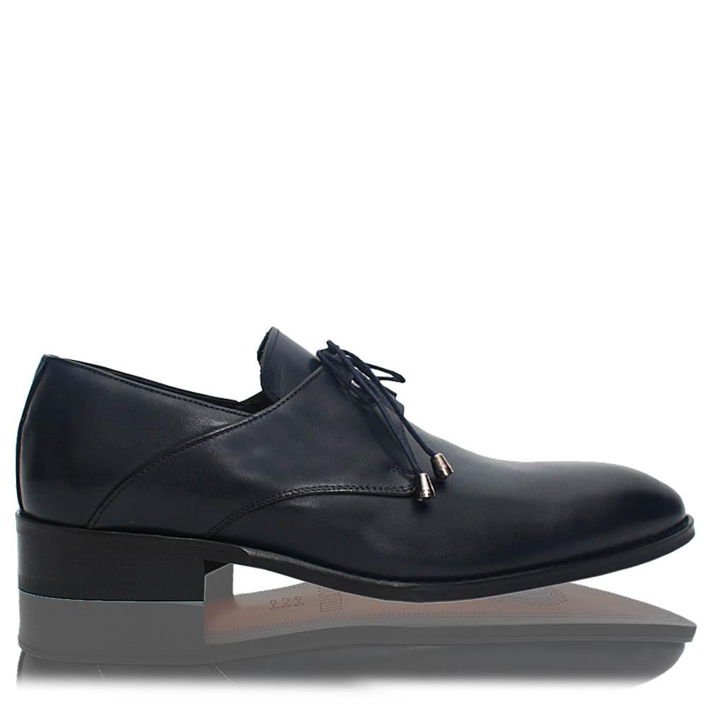 Dark Navy Evan Leather Men Derby Shoes