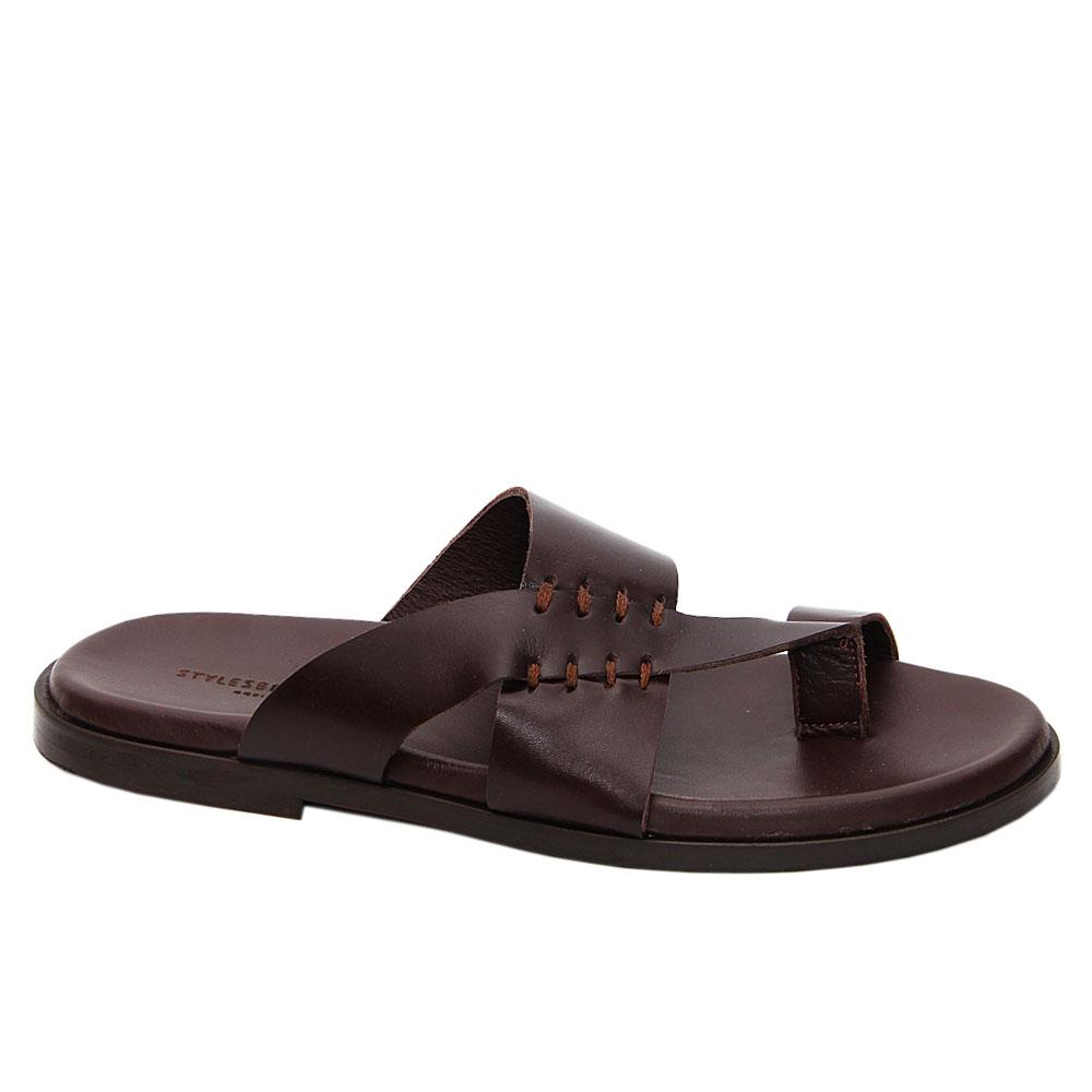 Coffee Alonzo Italian Leather Slippers
