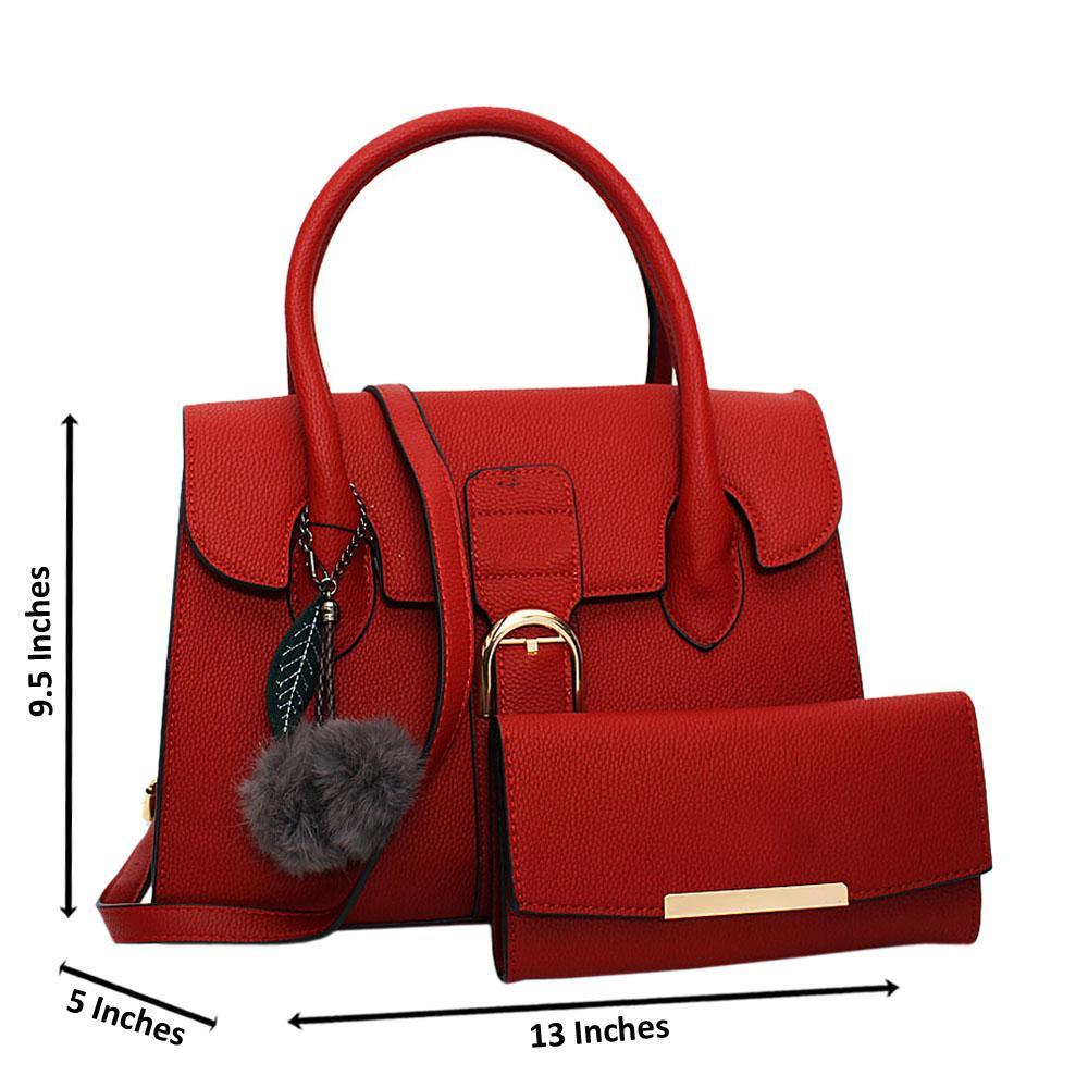 Red Natalia Leather Medium Tote Handbag
