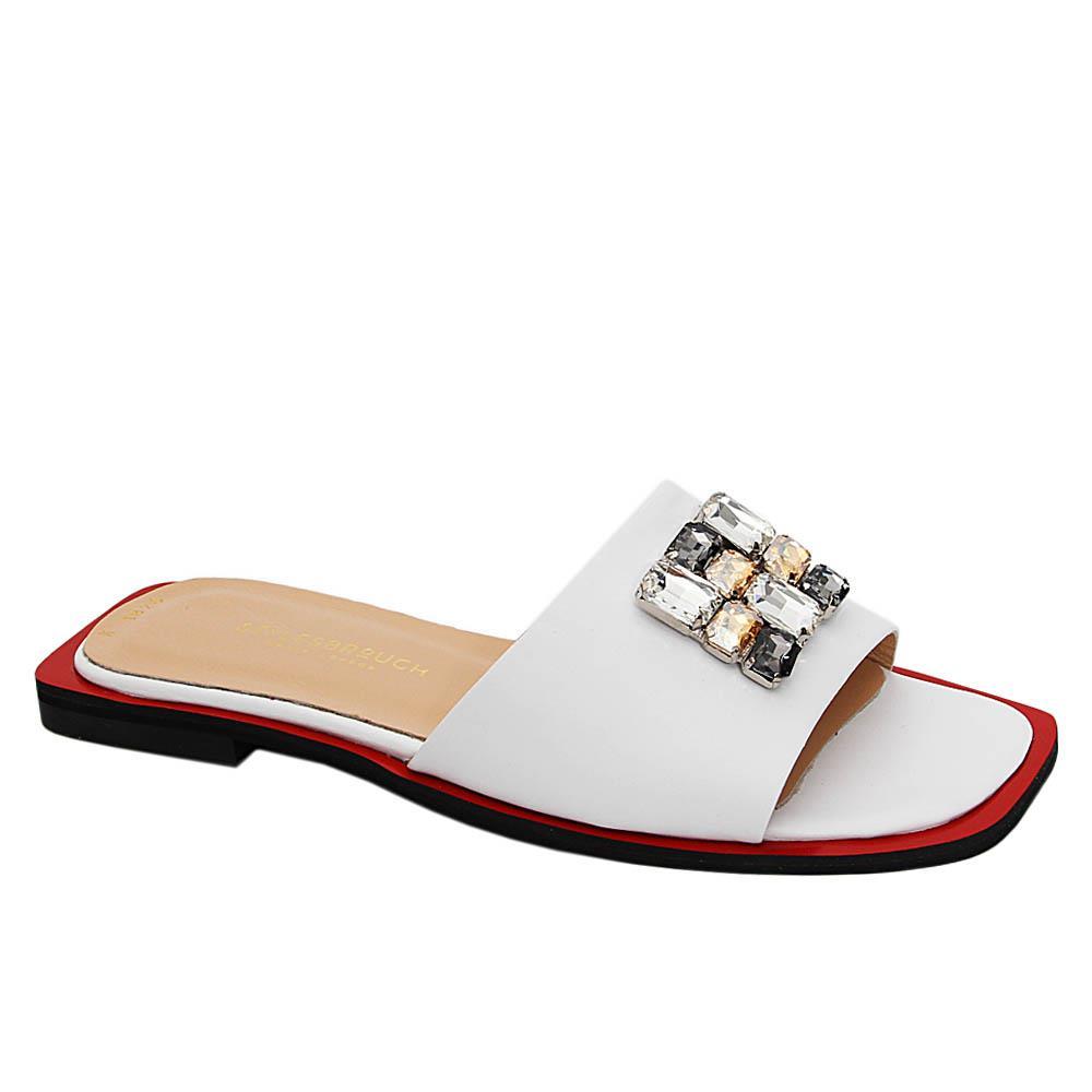 White Yolanda Pearl Italian Leather Flat Slippers