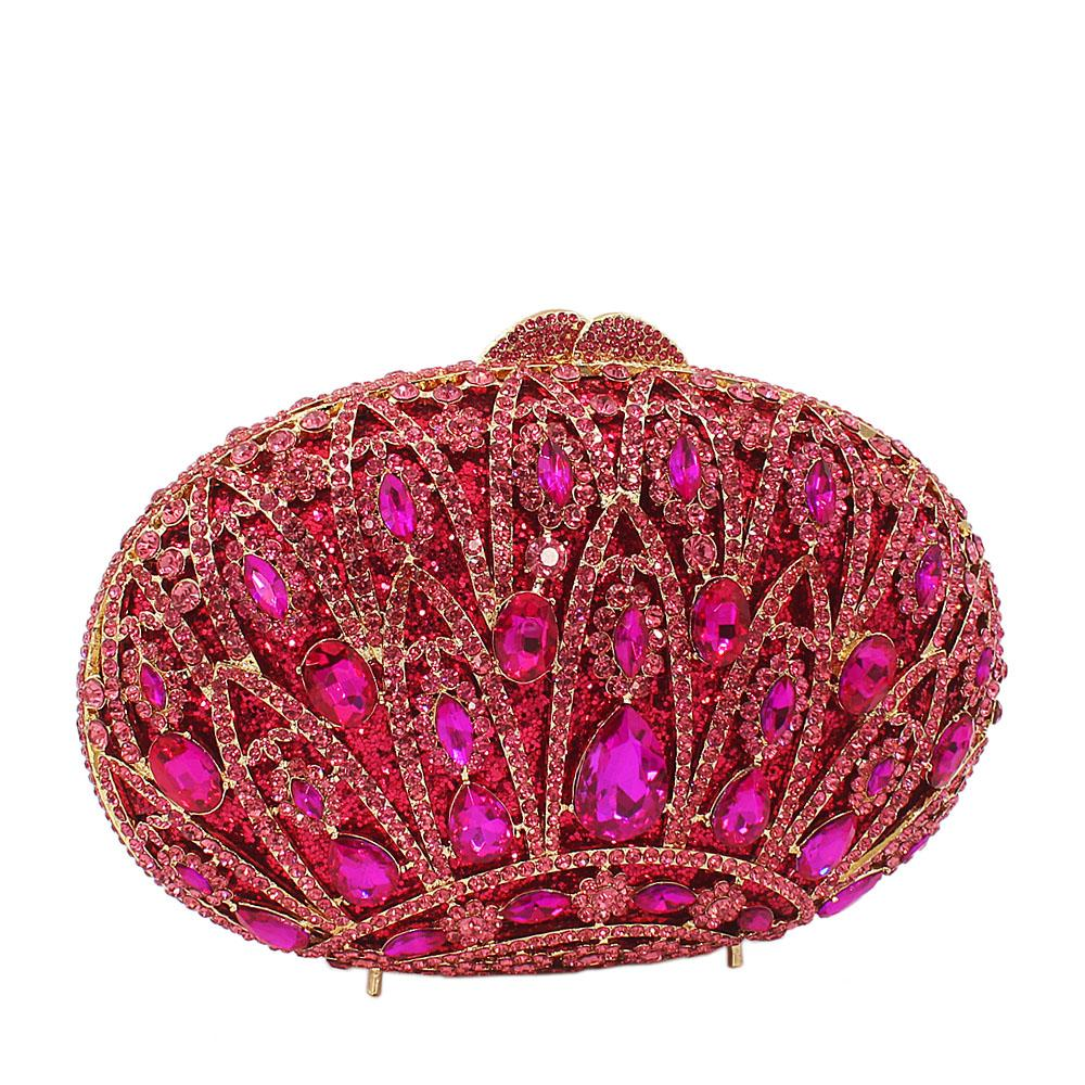 Pink-Crown-Diamante-Crystals-Clutch-Purse