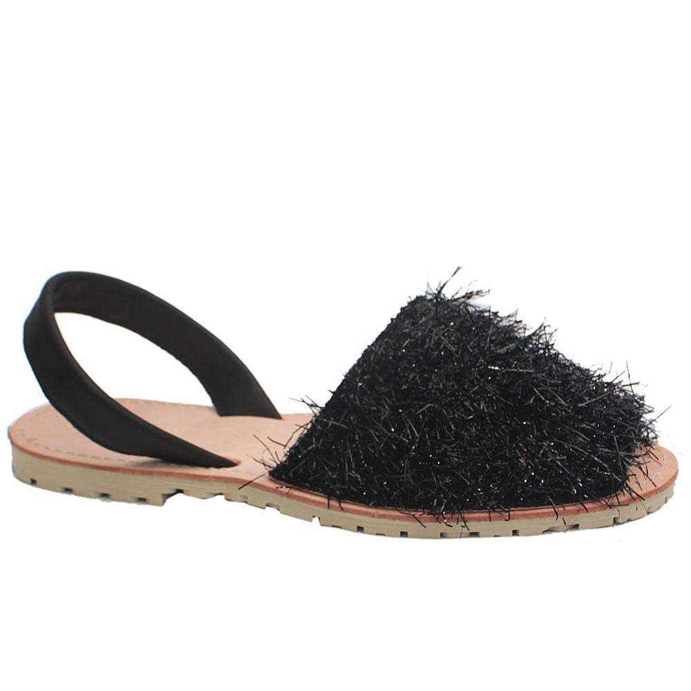 Black Shimmering Leather Peep Toe Flat Sandals