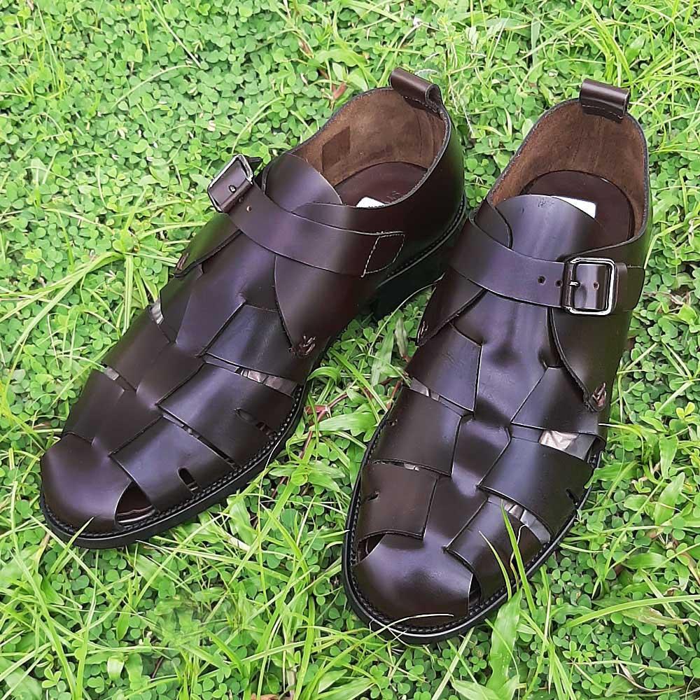 Coffee Miguel Alonso Italian Leather Men Fisherman Sandals