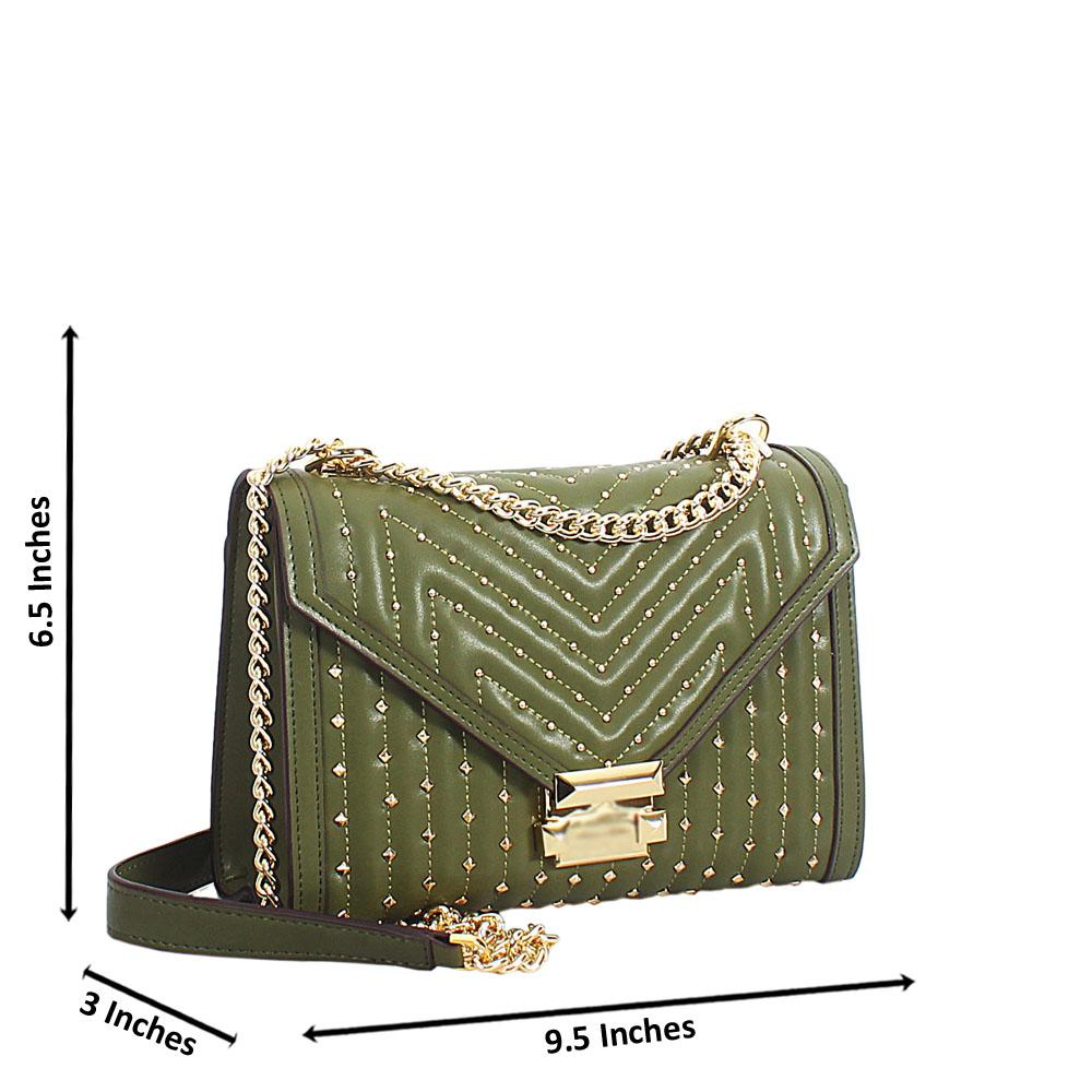 Green Gold Studded Leather Chain Crossbody Handbag