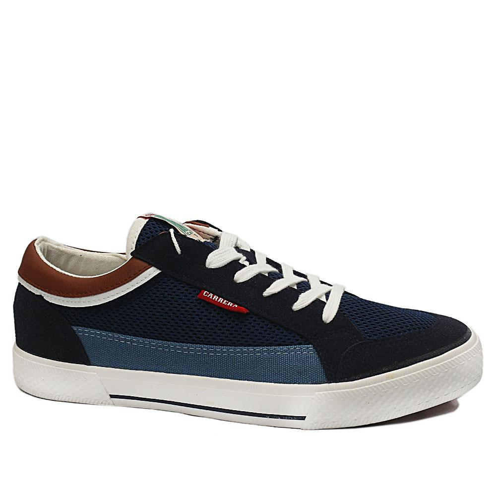 Sz 44 Carrera Navy Mix Fabric Suede Leather Breathable Sneakers