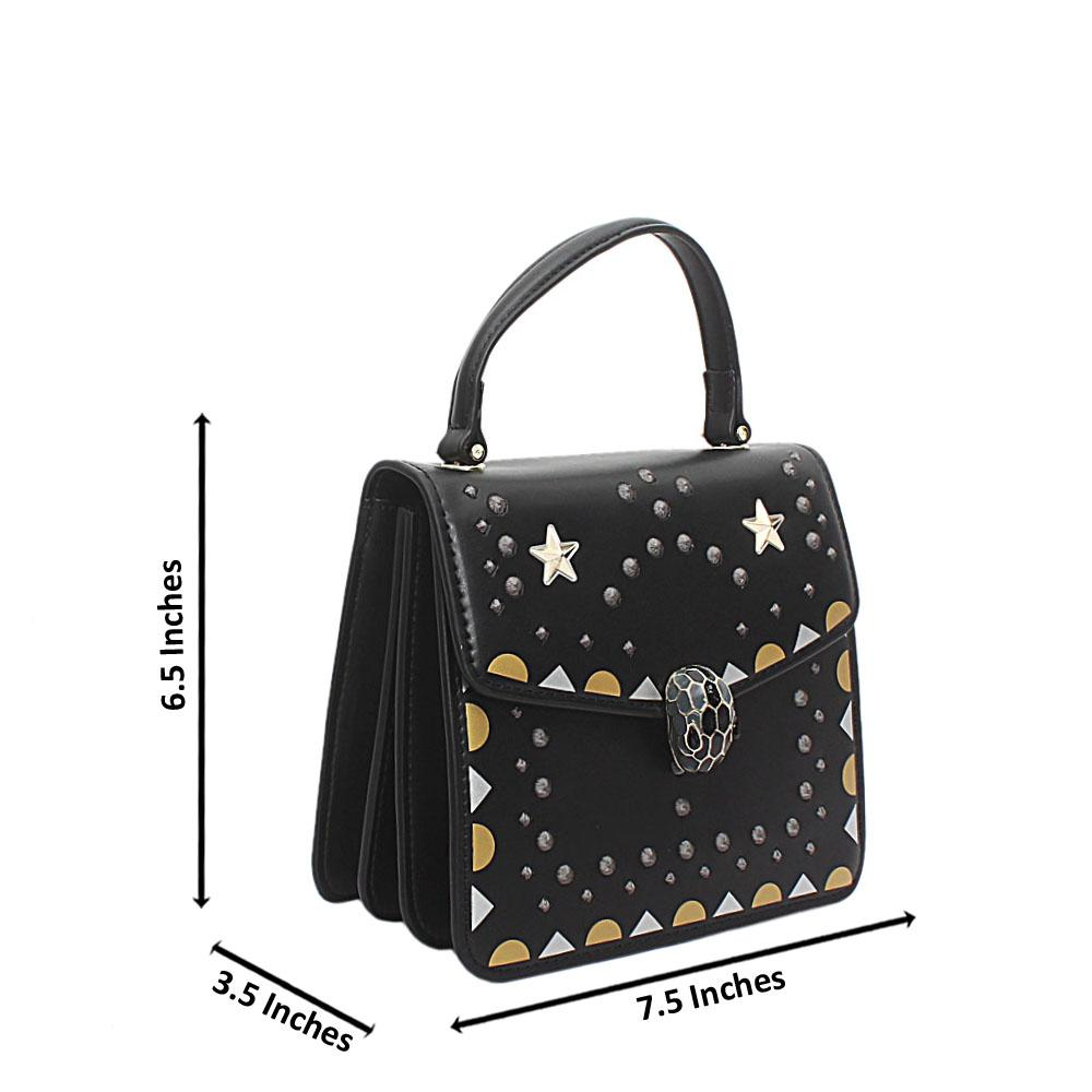 Black Starlight Cow Leather Top Handle Handbag