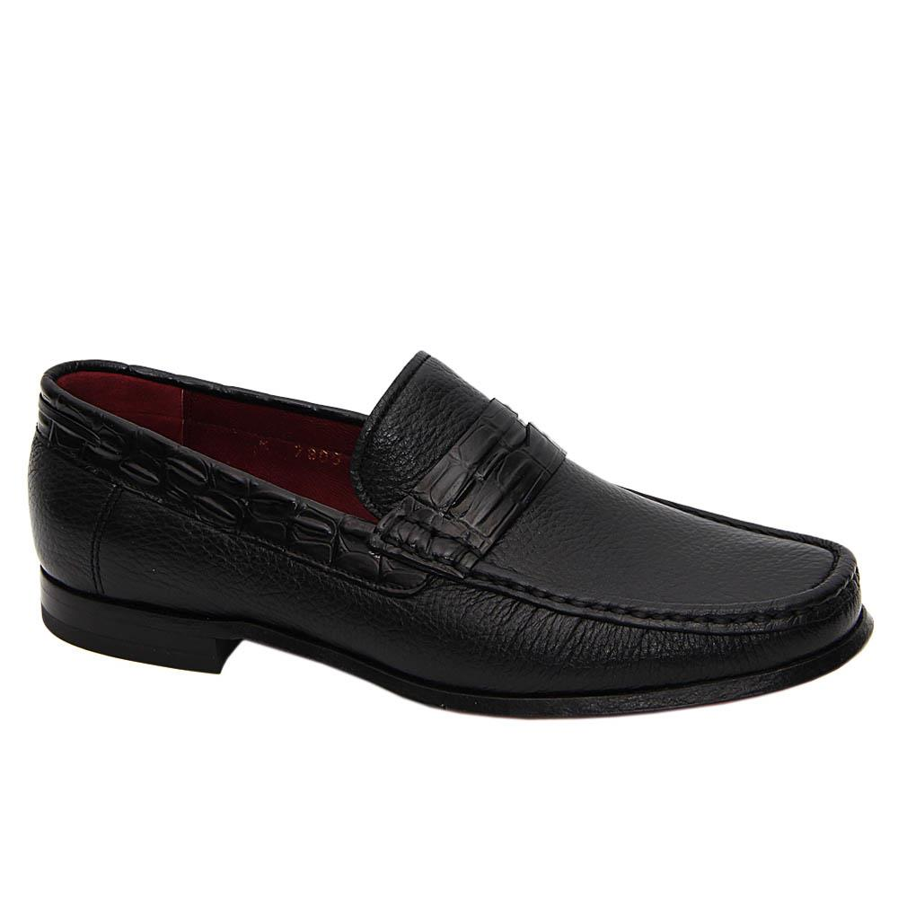 Black Silvano Italian Soft Leather Penny Loafers