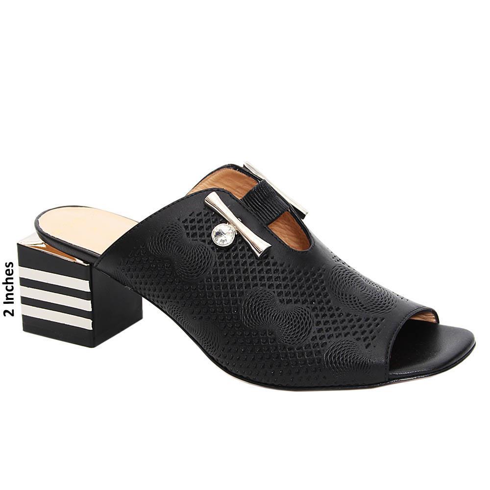 Black Kamilah Italian Leather Mid Heel Mule