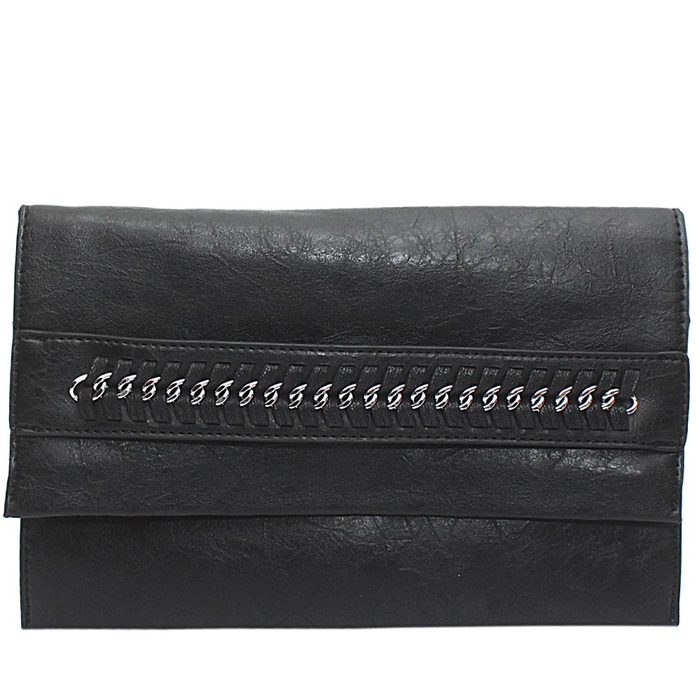Black Chain Design Leather Flat Purse