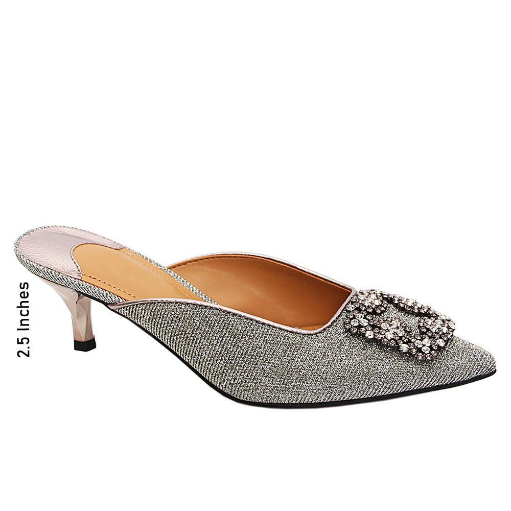 Silver Charlotte Glitters Leather Mid Heel Half Pumps