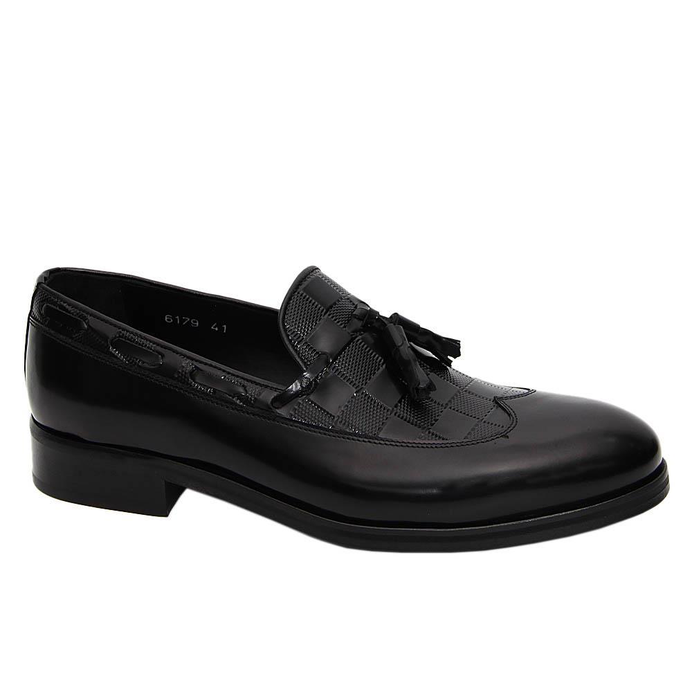 Black Ricco Italian Leather Tassel Loafers