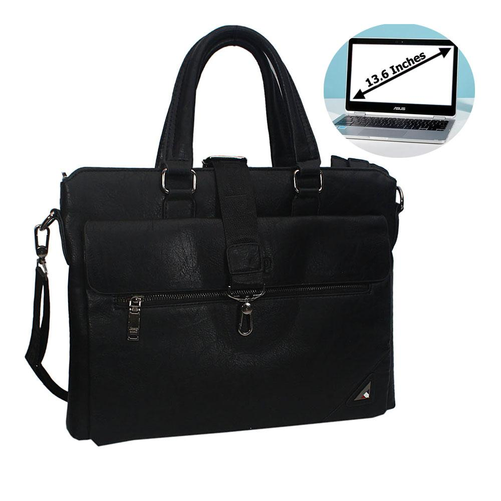 Black Marcos Leather Single Flap Briefcase